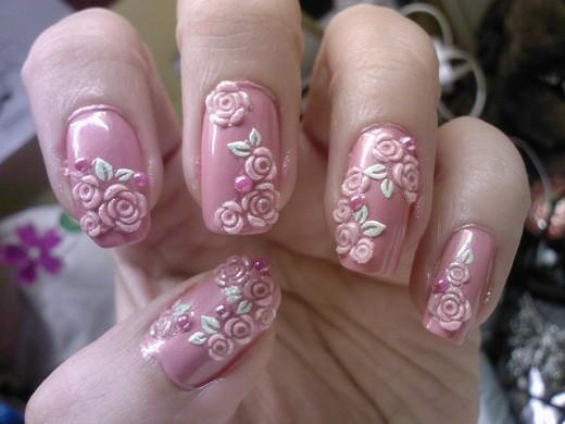 uñas 3d rosas