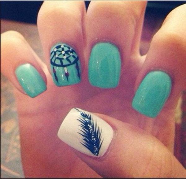 decoración de uñas con plumas