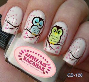 modelos de uñas con buhos