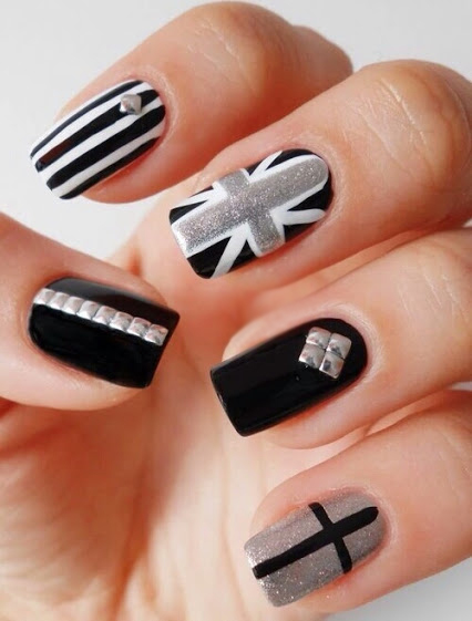 imagenes de uñas blanco y negro