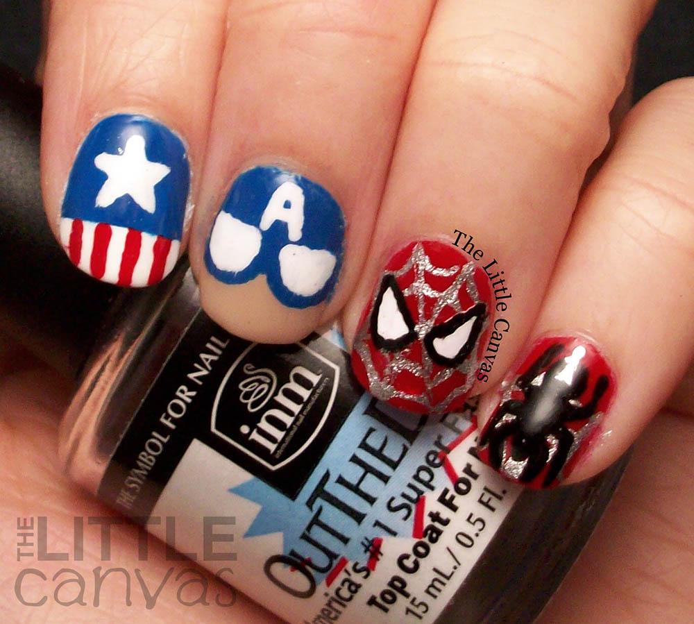 Captain-America-SpiderMan-Nail-Art