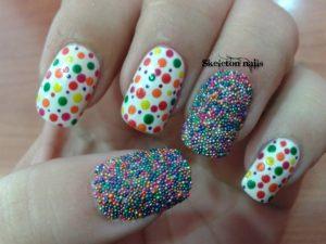 Decoración de uñas al estilo caviar colores varios
