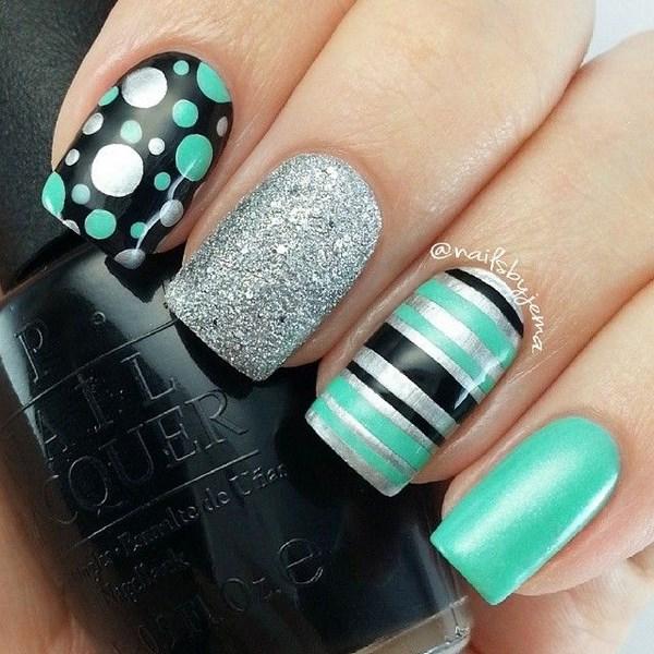 uñas-decoradas-verde-menta ⋆ Diseños de uñas decoradas