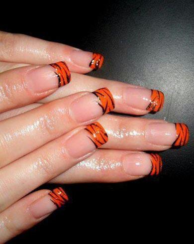 Nail Art En Color Naranja Francesa Diseños De Uñas Decoradas