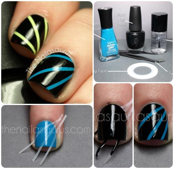 Diseño de uñas en formas geométricas en tonos pastel azul y negroç