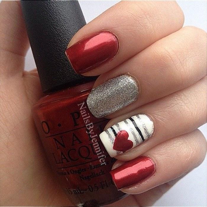 Love Nails Para El Día De San Valentíncorazones Rojo