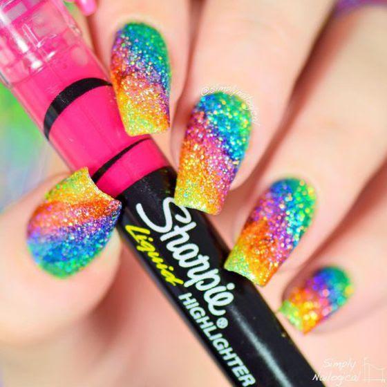 marcadores de colores para uñas con sharpie