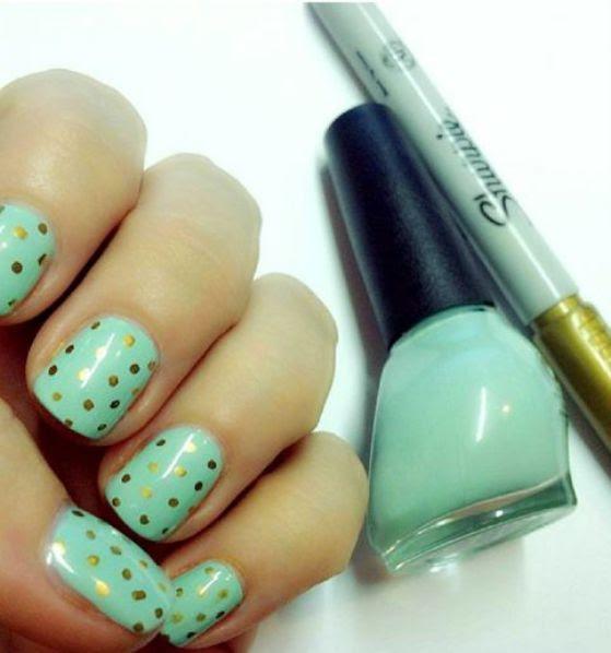 marcadores para uñas de ensueño verde y dorado
